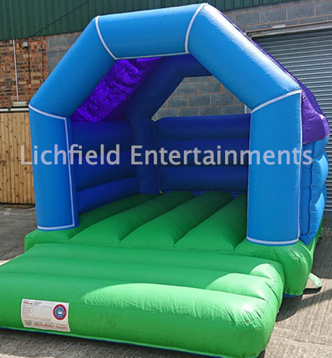 15x11ft Blue and Green Bouncy Castle hire from Lichfield Entertainments