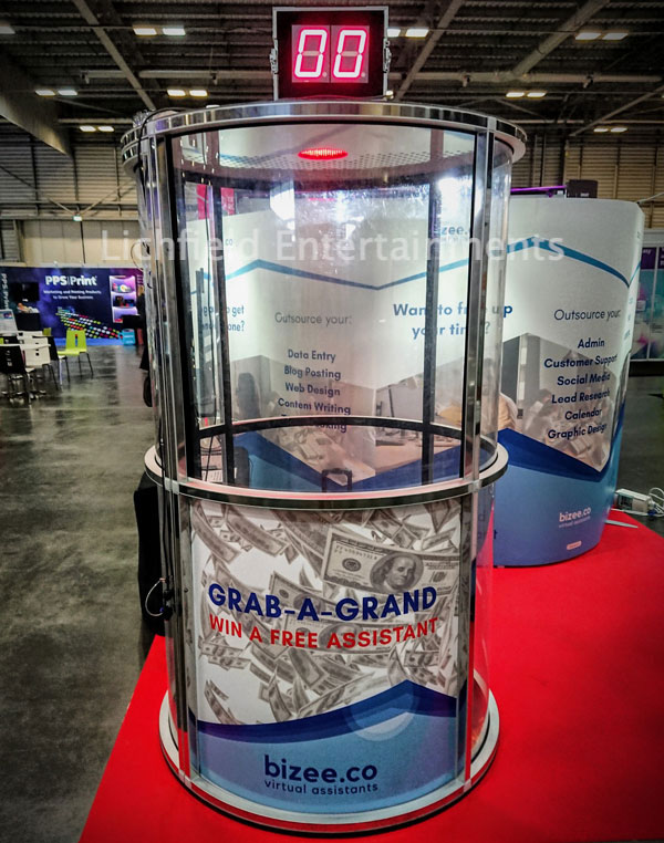 Cash Cube game for hire for promotional events and exhibitions