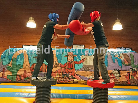 Gladiator Duel Inflatable for hire from Lichfield Entertainments UK