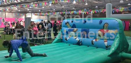 Rugby theme Bungee Run inflatable