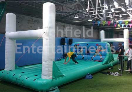 Rugby themed Bungee Run game for hire