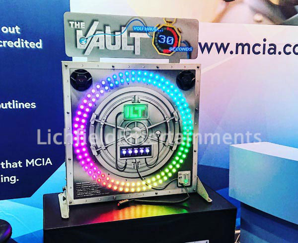 The Vault - a eye to hand coordination and reaction speed game for hire - ideal for exhibition stands